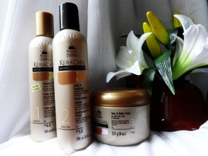 KeraCare: Cleansing Cream, Leave-in Conditioner, and Twist & Define Cream. Click to visit their site.